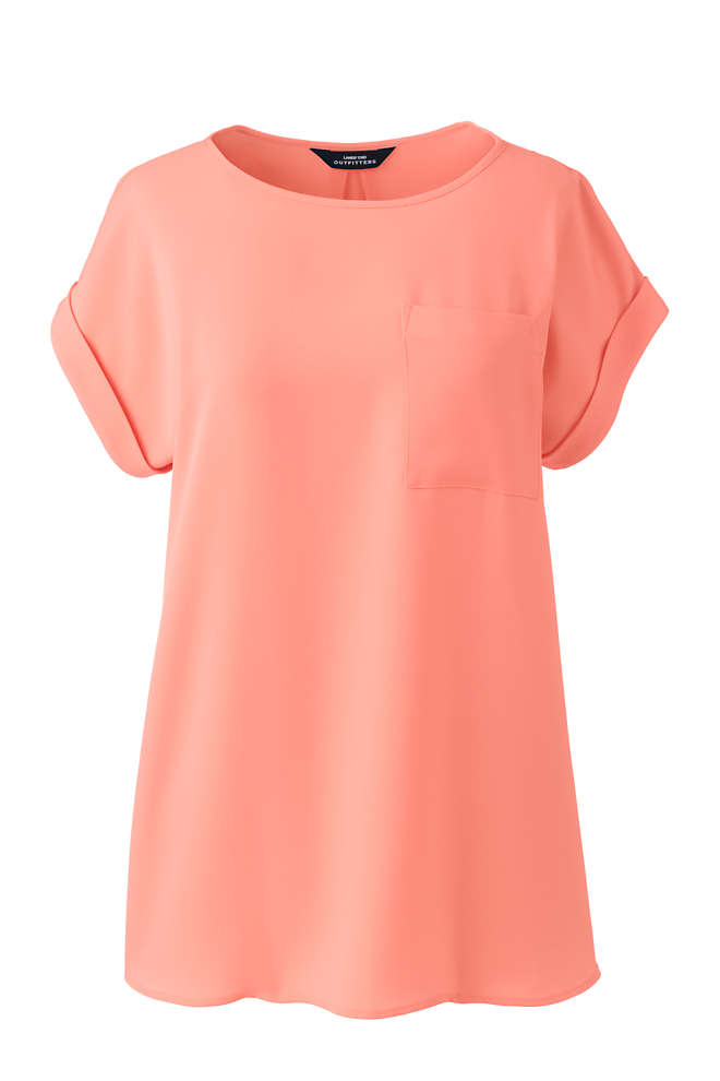 Women's Petite Short Sleeve Pocket Tee Crepe Blouse, Front