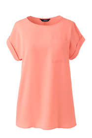 Women's Petite Short Sleeve Pocket Tee Crepe Blouse