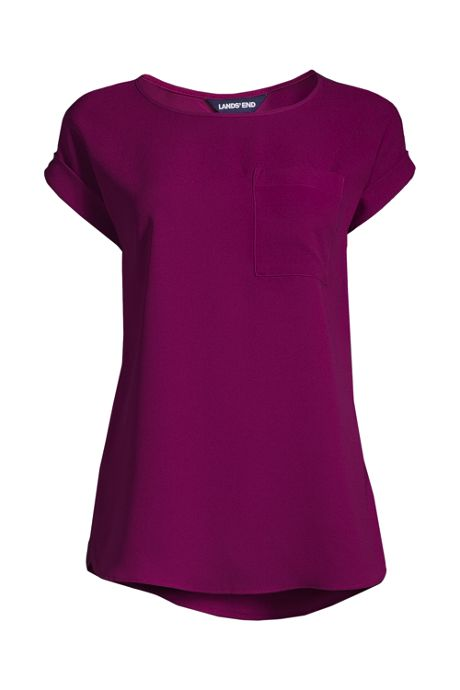 Women's Short Sleeve Pocket Tee Crepe Blouse