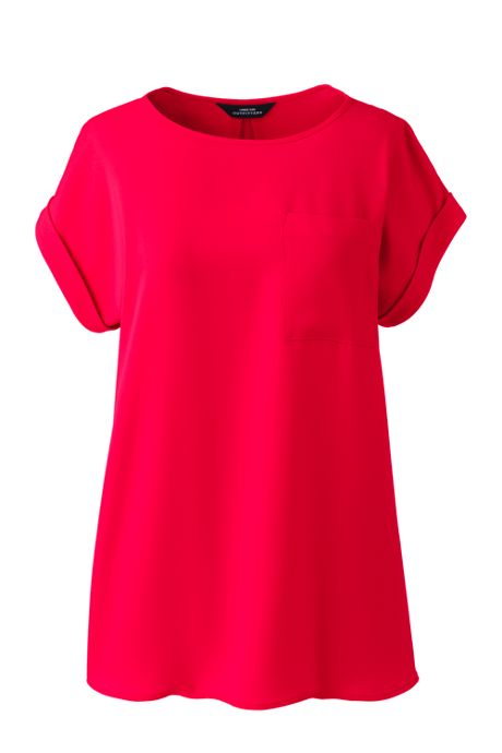 Women's Petite Short Sleeve Pocket Tee Crepe Blouse