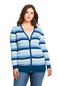 09bca3936d Women s Plus Size Long Cardigan Sweater Stripe Supima Cotton