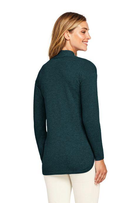 Women's Petite Cashmere Tunic Sweater V-neck