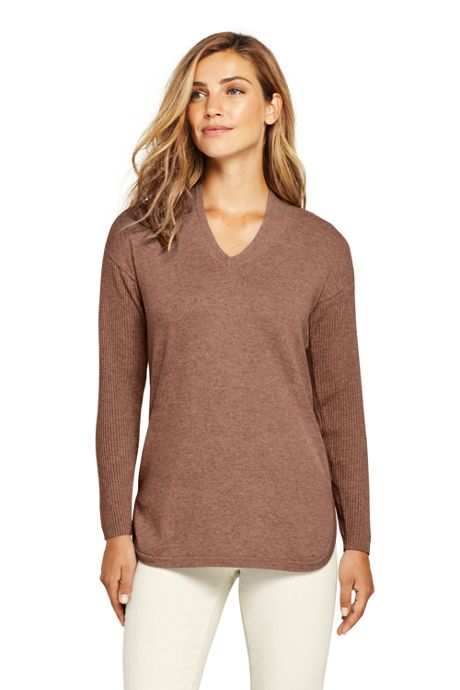 Women's Petite Cashmere Tunic Sweater V-neck