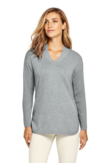 Women's Cashmere Tunic Sweater V-neck