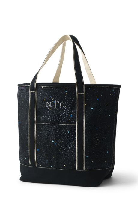Large Glitter Print Open Top Canvas Tote Bag