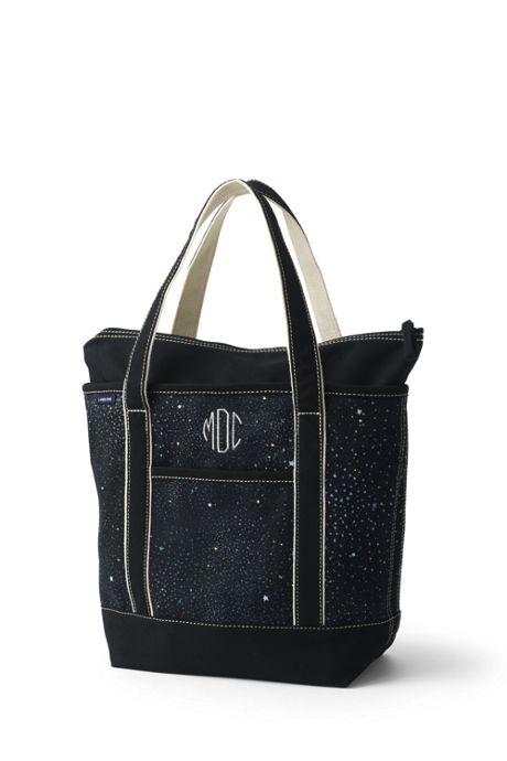 Medium Glitter Print Zip Top Canvas Tote Bag