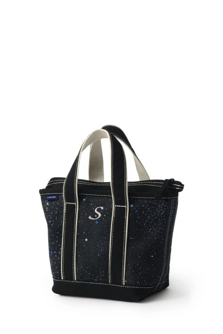 Small Glitter Print Zip Top Canvas Tote Bag