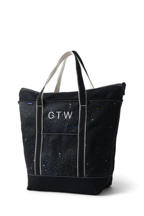 Large Glitter Print Zip Top Canvas Tote Bag