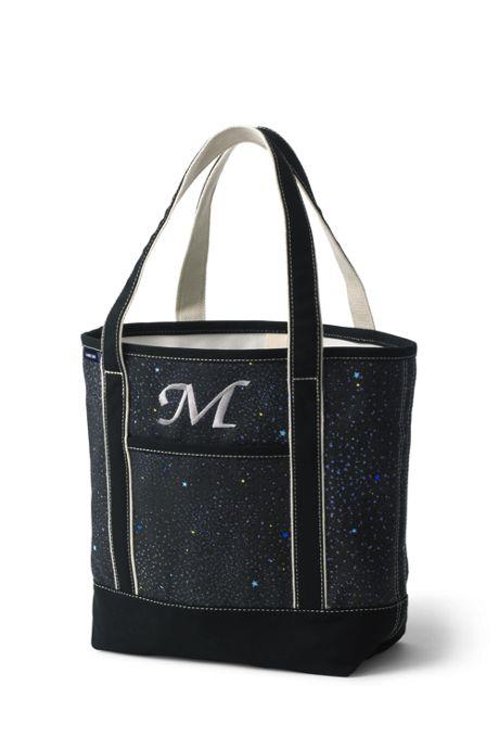 Medium Glitter Print Open Top Canvas Tote Bag