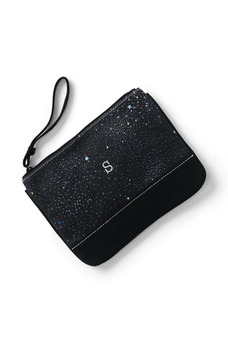Medium Glitter Print Canvas Pouch