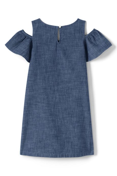 Little Girls Cold Shoulder Chambray Dress