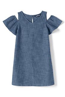 Robe Épaules Dénudées en Chambray, Fille