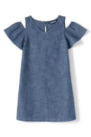 Girls Cold Shoulder Chambray Dress