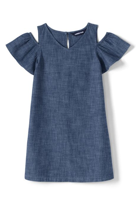 Girls Plus Cold Shoulder Chambray Dress