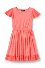 Girls Eyelet Trim Knit Twirl Dress