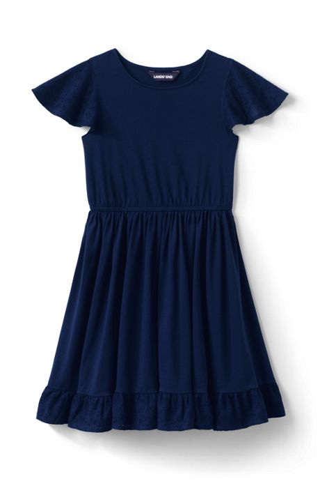 Little Girls Eyelet Trim Knit Twirl Dress