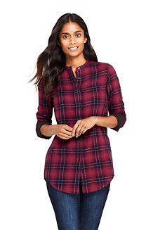 Women's Double Weave Band Collar Patterned Shirt