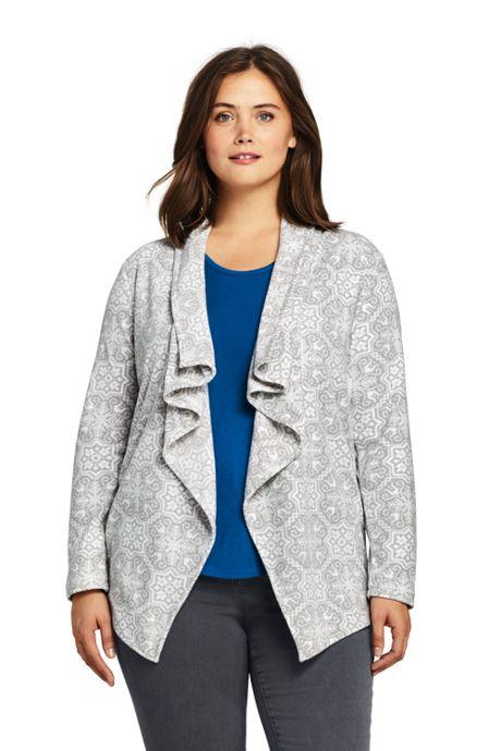 Women\'s Plus Size Print Waterfall Fleece Cardigan, Plus Size ...