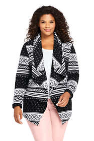Women's Plus Size Print Waterfall Fleece Cardigan