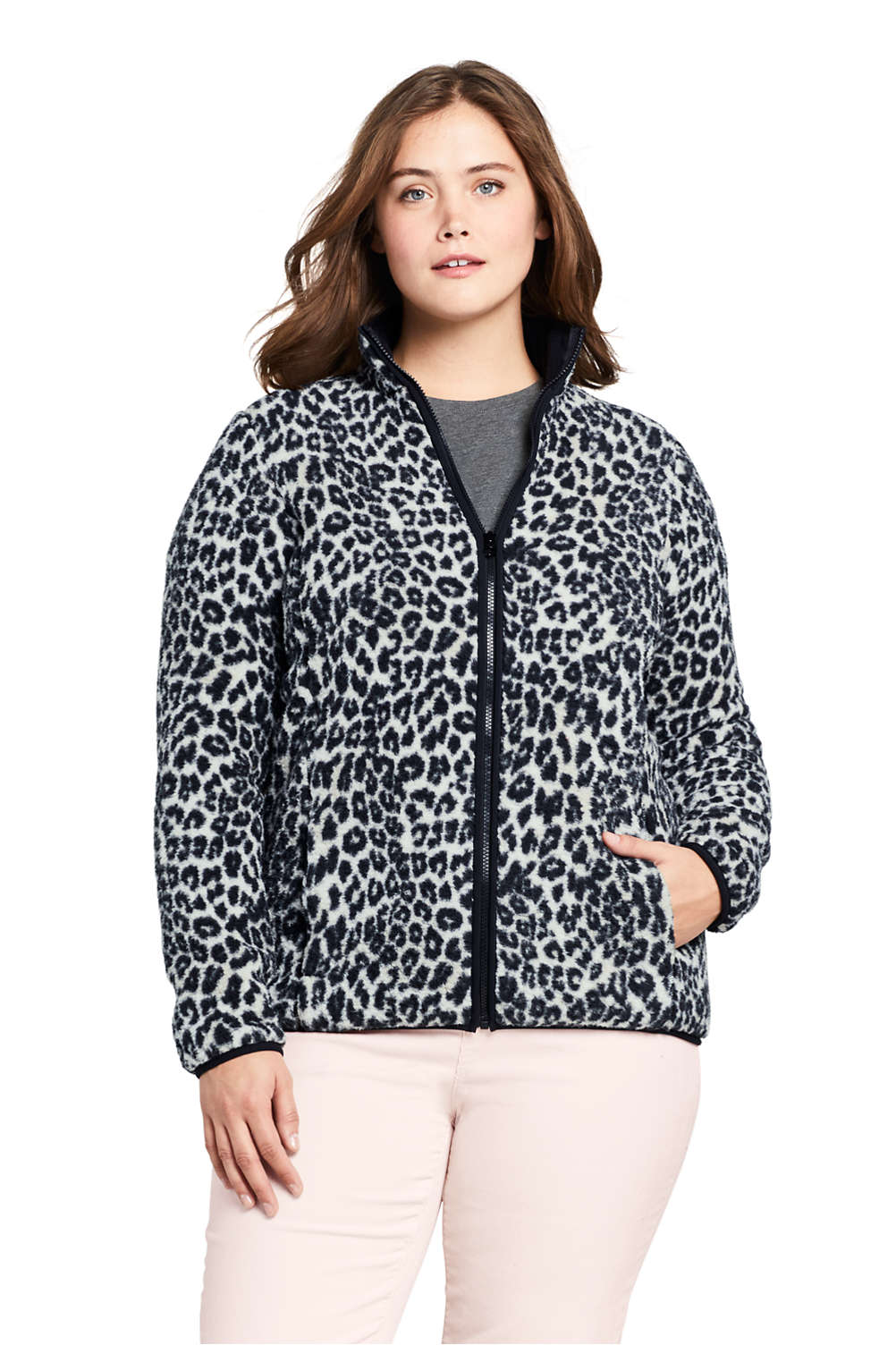 Women s Plus Size Print Cozy Sherpa Fleece Jacket from Lands  End 4b165f1d2