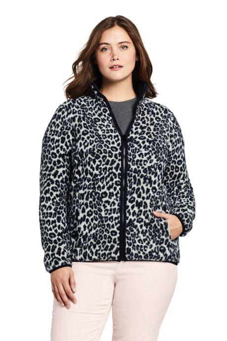 Women's Plus Size Print Cozy Sherpa Fleece Jacket