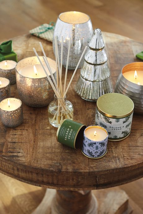 Balsam and Cedar Large Textured Metal Candle