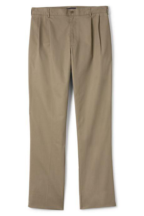 Men's Pre-hemmed Iron Knee Blend Pleat Chino Pants