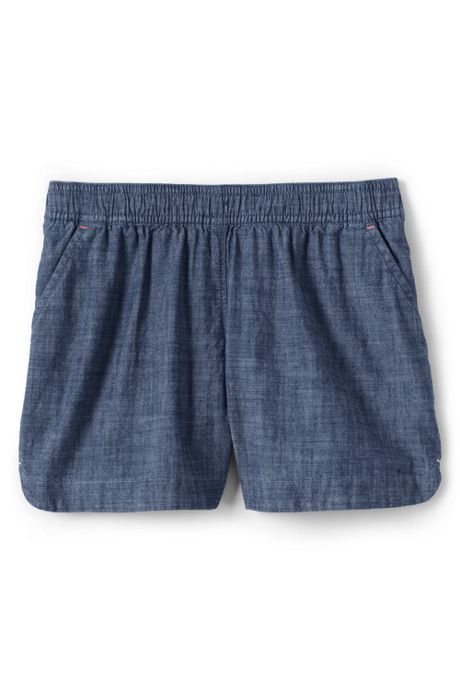 Little Girls Chambray Woven Pull On Shorts