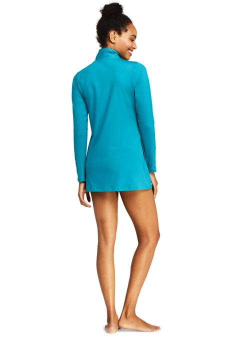 Women's Petite Full Zip Swim Cover-up Tunic Rash Guard