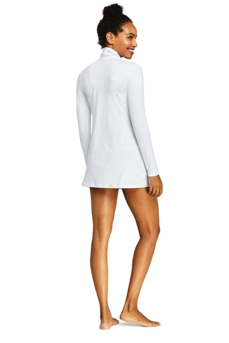 Women's Petite Mock Neck Full Zip Long Sleeve Rash Guard UPF 50 Sun Protection Swim Cover-up