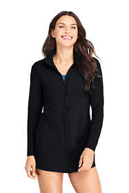Women's Long Full Zip Swim Cover-up Tunic Rash Guard