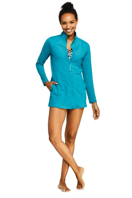 Women's Mock Neck Full Zip Long Sleeve Rash Guard UPF 50 Sun Protection Swim Cover-up