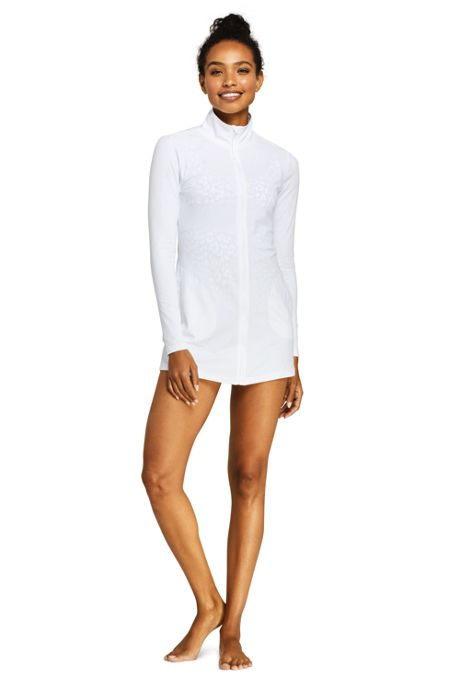 Women's Full Zip Swim Cover-up Tunic Rash Guard