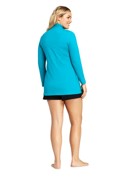 Women's Plus Size Full Zip Swim Cover-up Tunic Rash Guard