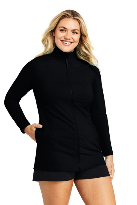 Women's Plus Size Mock Neck Full Zip Long Sleeve Rash Guard UPF 50 Sun Protection Swim Cover-up