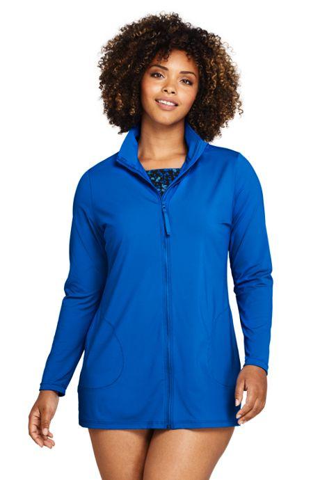 Women's Plus Size Mock Neck Full Zip Long Sleeve Rash Guard UPF 50 Sun Protection Swim Cover-up