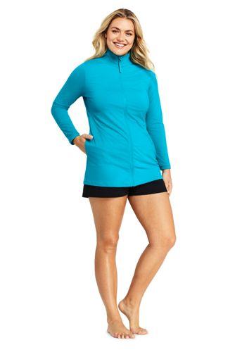f3d33695e13 Women s Plus Size Full Zip Swim Cover-up Tunic Rash Guard