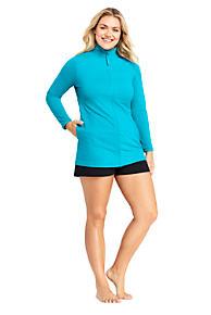 0a4aaae1c8deb Women s Plus Size Full Zip Swim Cover-up Tunic Rash Guard