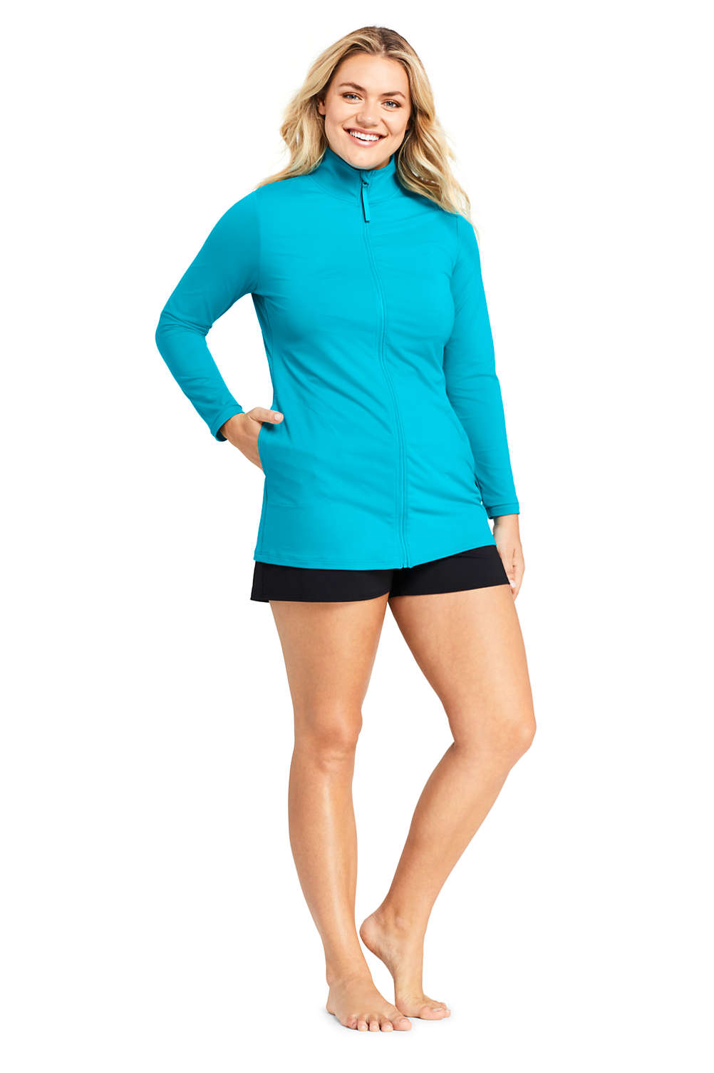 c6eff8386 Women s Plus Size Full Zip Swim Cover-up Tunic Rash Guard from Lands  End