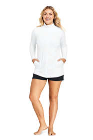 Women's Plus Size Long Full Zip Swim Cover-up Tunic Rash Guard