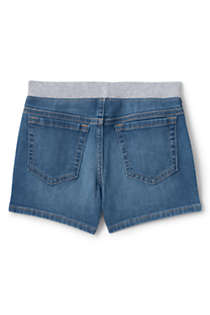 Little Girls Rib Waist Denim Jean Shorts, Back