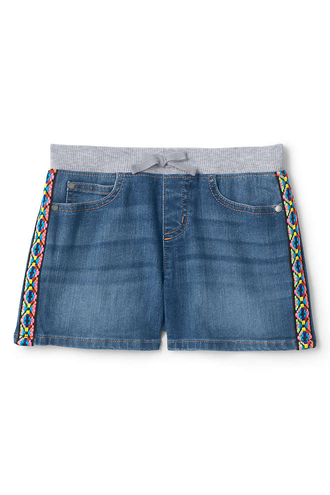 Little Girls Rib Waist Denim Jean Shorts, Front