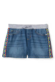 Girls Plus Rib Waist Denim Jean Shorts