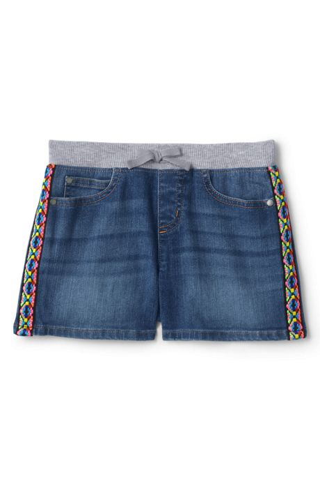 Little Girls Rib Waist Denim Jean Shorts