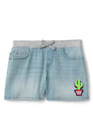Girls Rib Waist Denim Jean Shorts