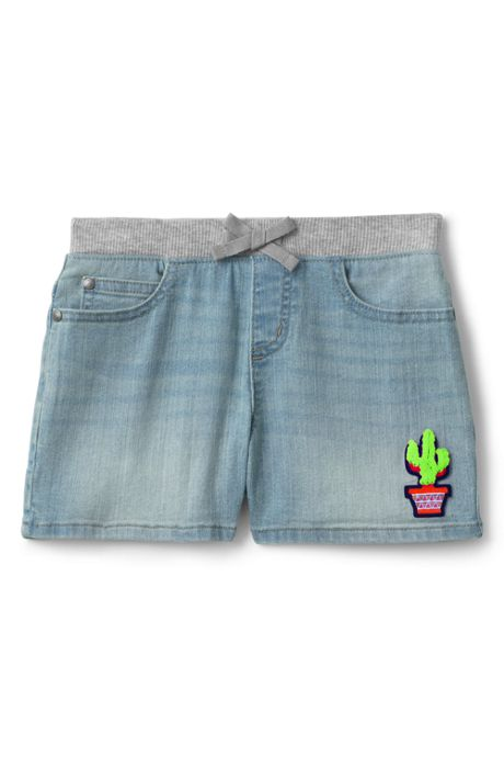 Girls Rib Waist Denim Shorts
