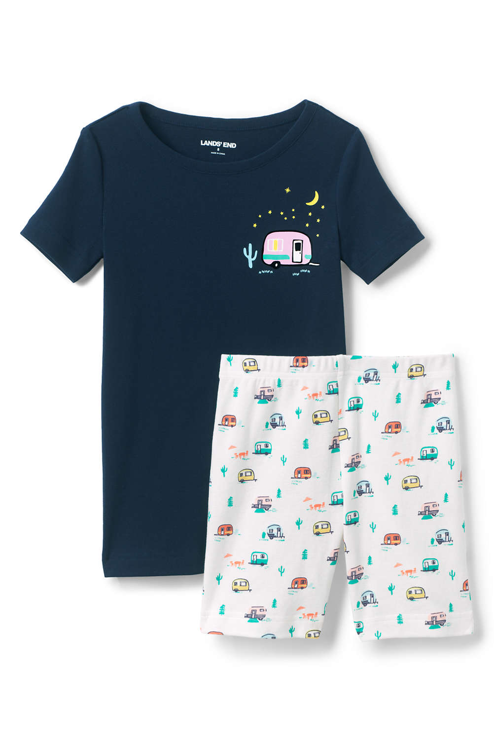 df3096943c Girls Snug Fit Shorts Pajama Set from Lands  End