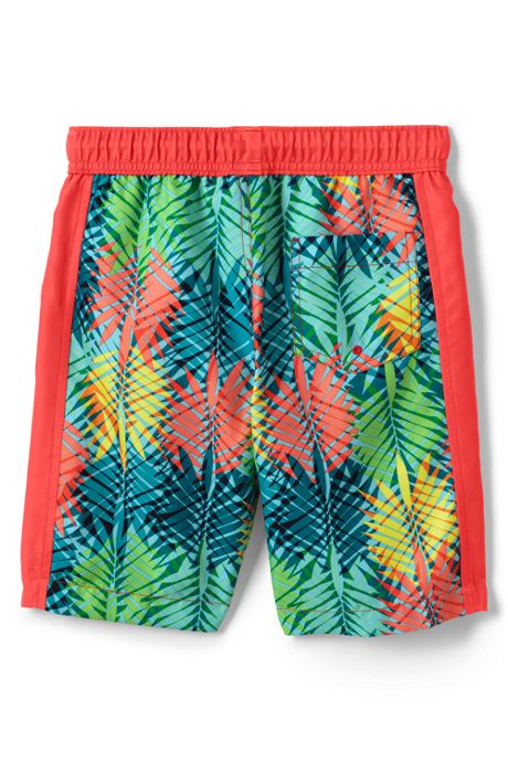 Boys Husky Print Blocked Swim Trunks
