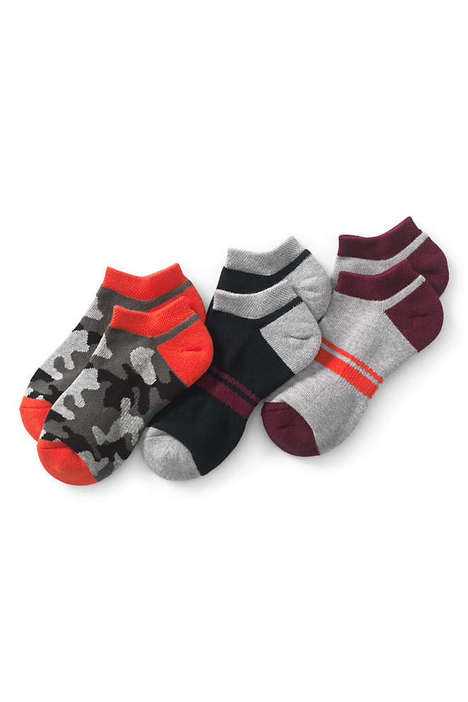 Boys Solid No-show Athletic Socks (3-pack), Front