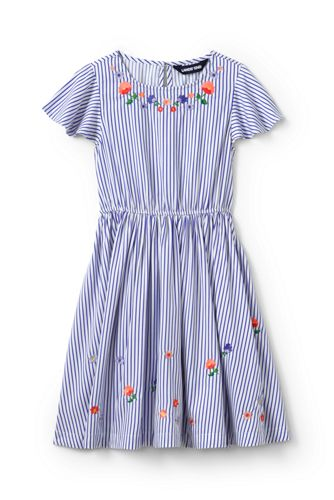 Little Girls' Flutter Sleeve Embroidered Twirl Dress